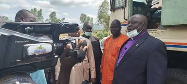 Bishop John Wesley Yohanna addresses the media during the commissioning of a borehole-drilling machine at The United Methodist Church's headquarters in Jalingo, Nigeria. The rig will provide access to clean water in rural villages. Photo by the Rev. Ande Emmanuel, UM News.