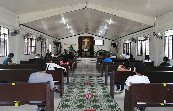 Polomolok United Methodist Church in South Cotabato, Philippines, reopened in June in compliance with health protocols, which include mask wearing and social distancing. Photo courtesy of Sime Neri P. Ulanday.
