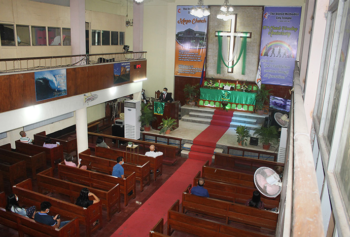 United Methodist City Temple in Cabanatuan City, Nueva Ecija, Philippines, reopened June 28 with four worship services. Photo by Gladys P. Mangiduyos, UM News.
