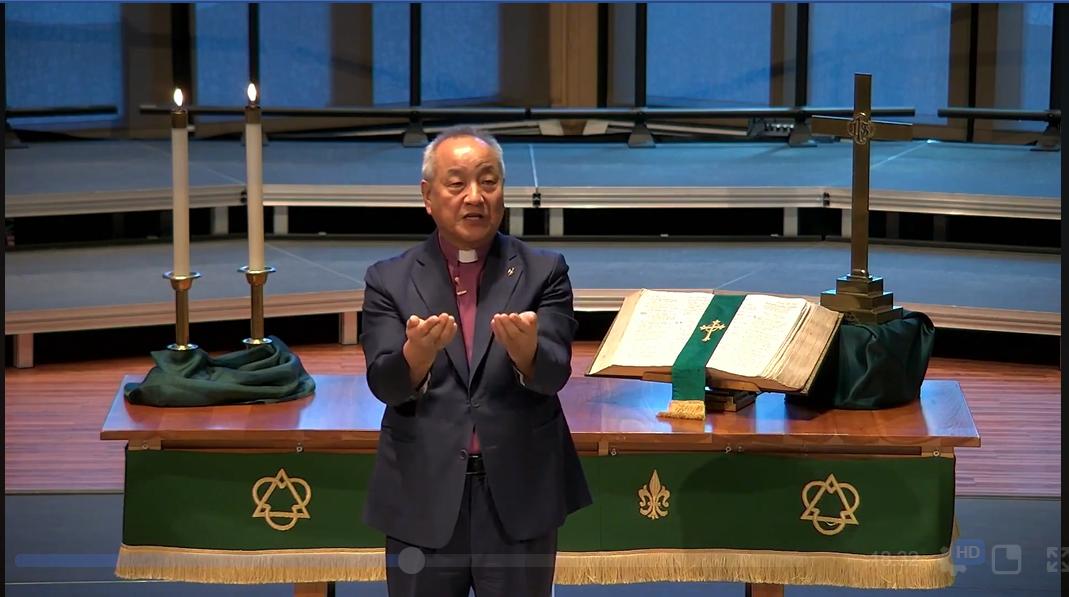 정희수 감독이 2020년 6월 25일 한국전쟁 70주년 평화기도회에서 설교하고 있다. 유튜브 캡처.