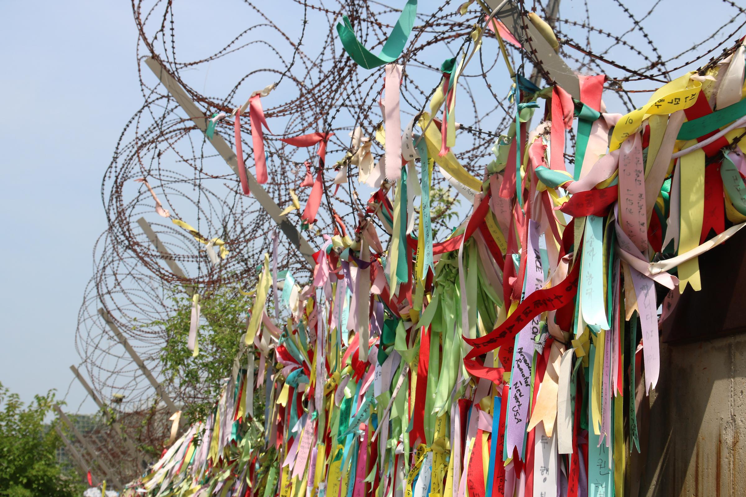 비무장지대에 걸려있는 한반도 평화와 통일을 염원하는 순례자들의 기도문이 적힌 리본들. 사진, 그레고리 드 폼벨리, 세계교회협의회.