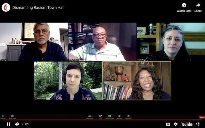 Panelists discuss Methodism's record on race during a livestreamed denominational town hall meeting. The gathering was moderated by Erin Hawkins (bottom right) of the United Methodist Commission on Religion and Race. Panelists included (clockwise from bottom left): Alison Collis Greene, The Revs. Alfred T. Day III, William Bobby McClain and Lisa Dellinger. UM News screenshot via YouTube.
