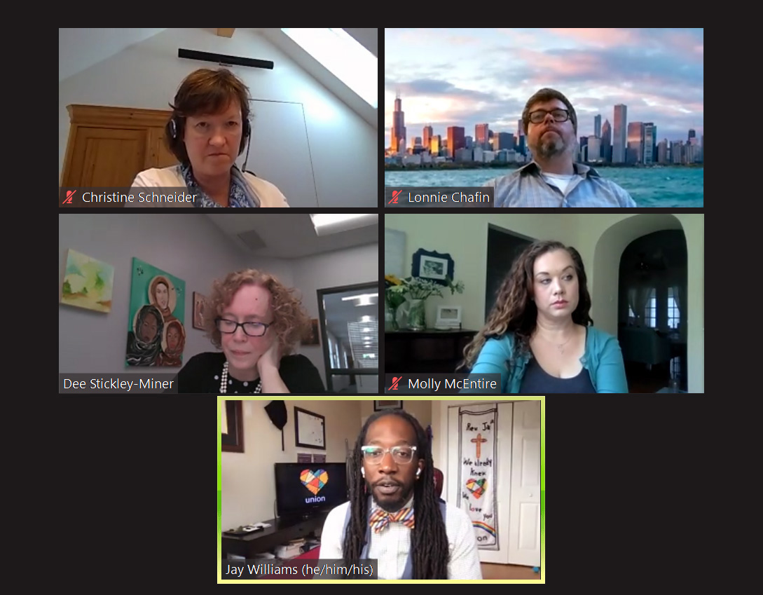 "An informal group of General Conference delegates lead a webinar July 7 to encourage conversations ahead of the lawmaking assembly, postponed until 2021 because of the coronavirus pandemic. The international group has put together a statement ""Out of Chaos… Creation"" to encourage church members to use the delay to dialogue and listen to the Holy Spirit. Screen shot of ZOOM meeting by UM News."