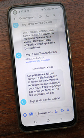 The United Methodist Church sent several text messages each day to educate local communities about what they could do to prevent Ebola. 2019 file photo by Chadrack Londe, UM News.