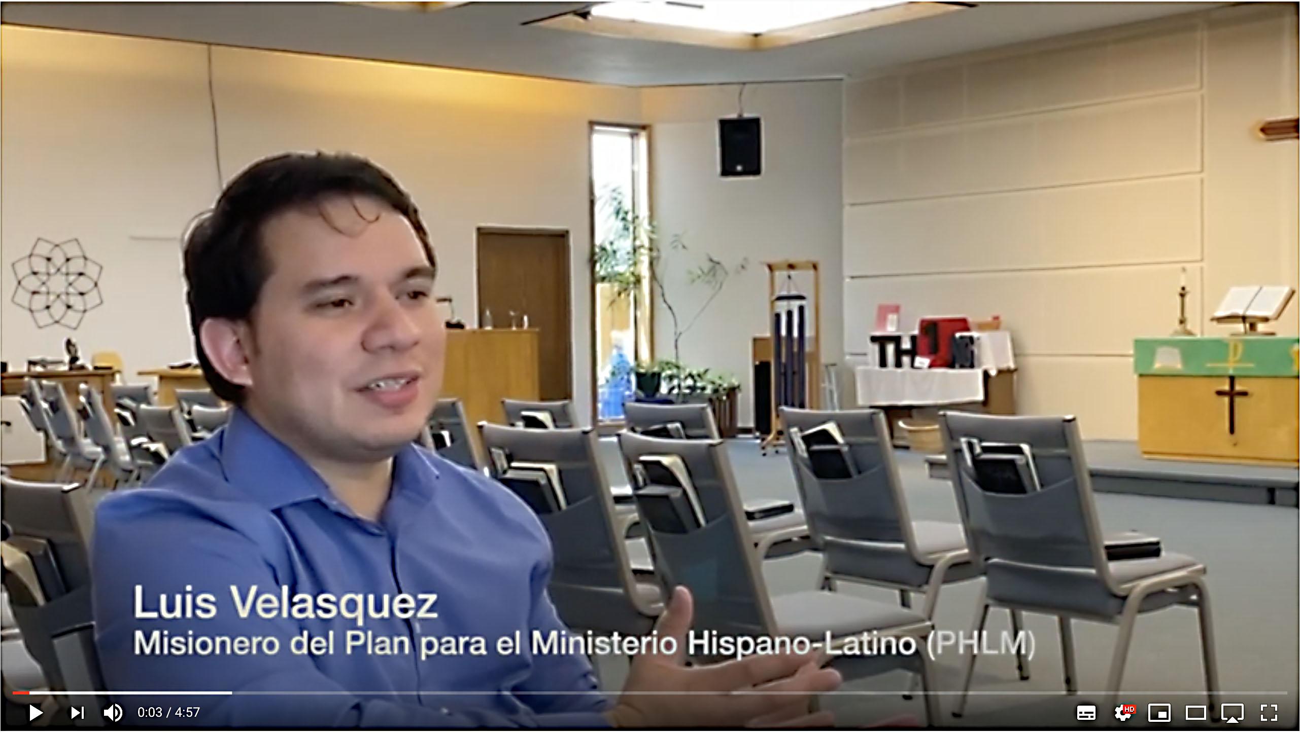 Captura de pantalla de la entrevista al misionero Luis Velasquez, producido por el equipo de comunicadores del Plan para el Ministerio Hispano-Latino (PHLM) de La Iglesia Metodista unida.