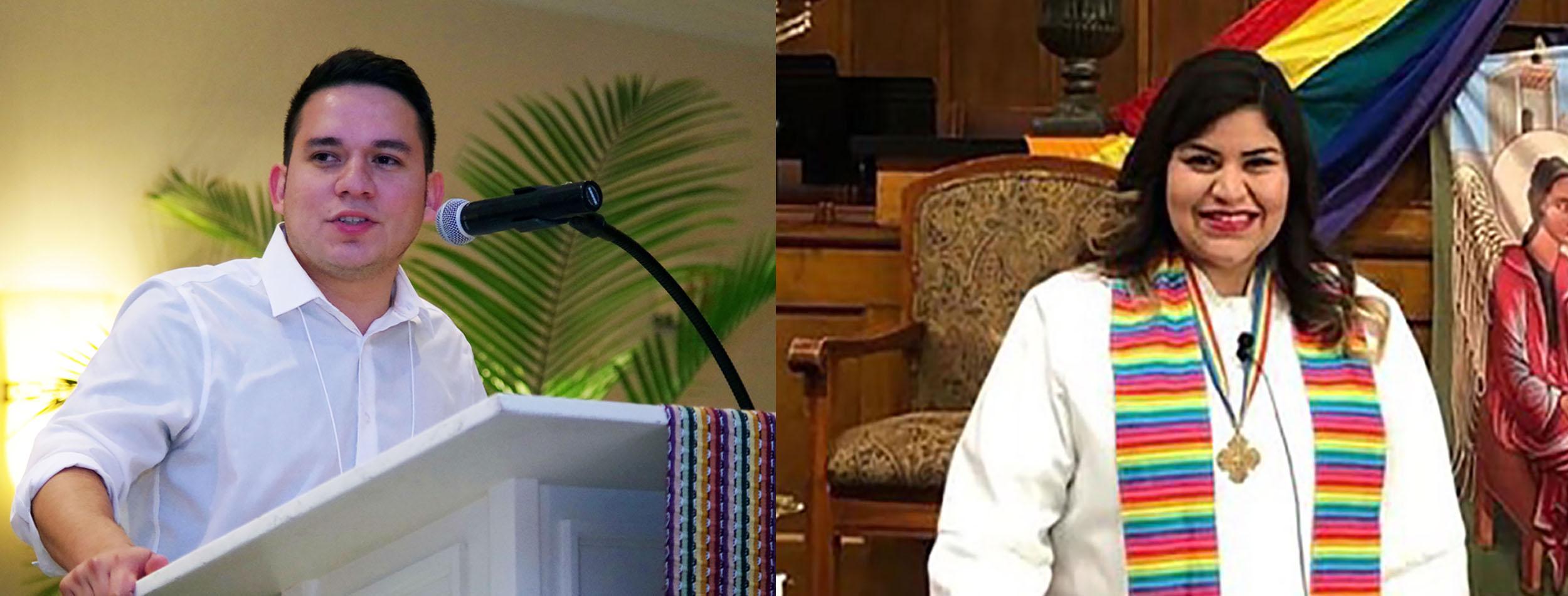 """El misionero Luis Velasquez y la Pastora Cassy Núñez son dos de los/as muchos/as """"soñadores/as"""" metodistas unidos que, junto con otros/as cientos de miles de jóvenes hispano-latinos/as en todo el país, luchan por alcanzar un estatus migratorio que les permita la ciudadania. Foto de la izquierda, archivo de Noticias MU, Rev. Gustavo Vasquez; foto derecha cortesía de la Pastora Cassy Núñez."""
