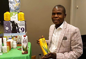 Tendai Kativhu, connectional ministries chair at Mainway Meadows United Methodist Church in Harare, Zimbabwe, has grown his aloe business through online marketing during the coronavirus pandemic. Photo by Chenayi Kumuterera, UM News.