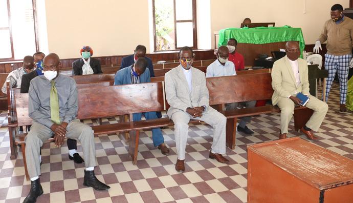 Pastores dos Distritos de Malanje e Kiwaba Nzoji presentes no culto de reabertura na Igreja Central de Malange. Malange, foto de João Gonçalves Nhanga.