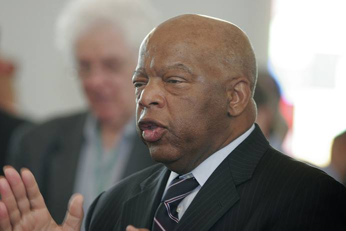 """Congressman John Lewis speaks during a 2009 worship service at the historic Brown Chapel African Methodist Episcopal Church in Selma, Ala., during the 44th anniversary of Bloody Sunday, the 1965 Selma-Montgomery Voting Rights March. """"We were prepared to walk from here to Montgomery,"""" he said. """"We were prepared to take a beating, to give a little blood. Selma, Selma, Selma helped liberate all of us."""" File photo by Kathy L. Gilbert, UM News."""