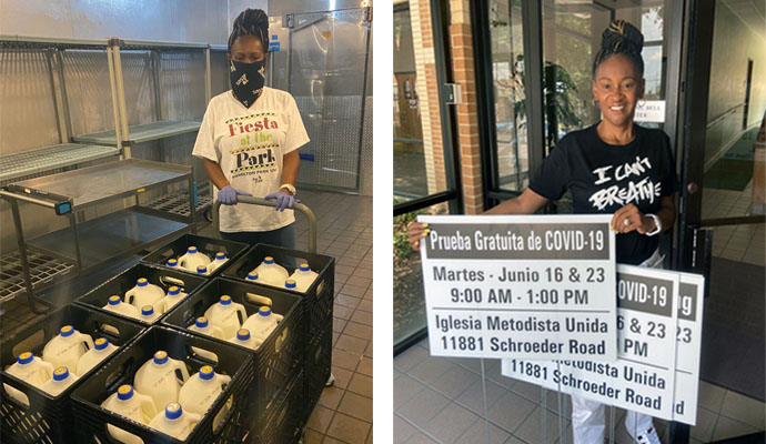 The Rev. Sheron C. Patterson, senior pastor of Hamilton Park United Methodist Church in Dallas, stocks up milk donations for needy families in photo on the left. In the right photo, Patterson holds signs promoting COVID-19 tests conducted each Tuesday at the church. Photos courtesy of Hamilton Park United Methodist Church.