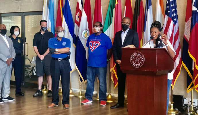 The Rev. Sheron C. Patterson, senior pastor of Hamilton Park United Methodist Church in Dallas, speaks during a news conference at the city hall in Dallas in May, 2020. She called for peace and calm after some protesters clashed with law enforcement. Photo courtesy of Hamilton Park United Methodist Church.
