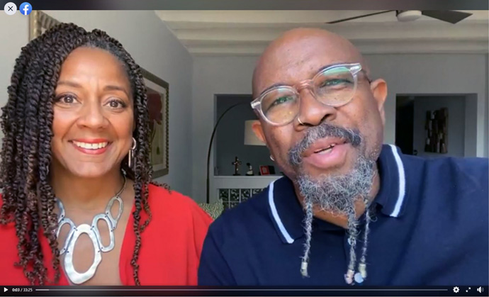 Pastors Rudy (right) and Juanita Rasmus present a Bible study live on the Facebook page for St. John's United Methodist Church Downtown in Houston. In addition to presenting services and Bible studies virtually, the church is distributing between 20 and 30 tons of food and supplies every week to more than 1,100 families. Screengrab courtesy of St. John's United Methodist Church by UM News.