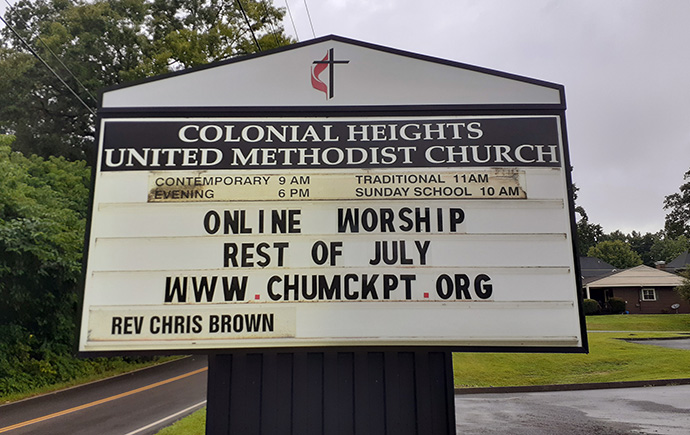 Colonial Heights United Methodist Church, in Kingsport, Tenn., is among the Holston Conference churches that have had to close again for in-person worship, due to rising COVID-19 case numbers in the area. Photo courtesy of the Rev. Chris Brown.