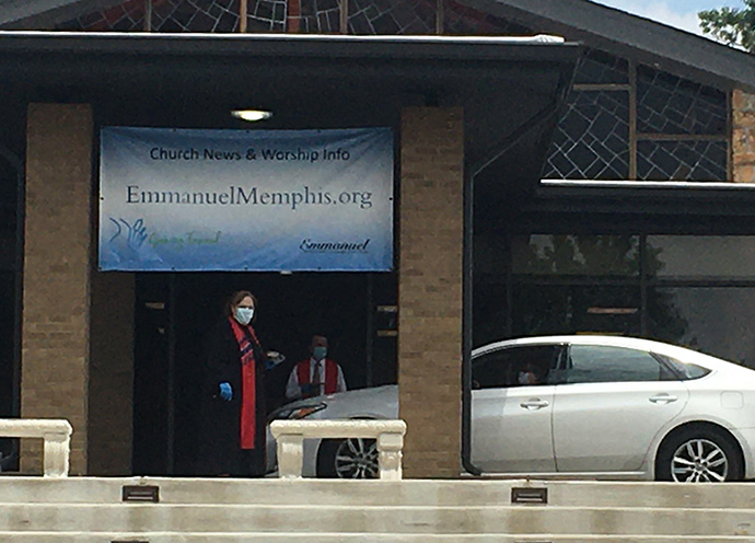 Memphis Emmanuel United Methodist Church hosts drive-thru Holy Communion during the COVID-19 pandemic as a way to reach out to members. Photo courtesy of Memphis Emmanuel United Methodist Church.