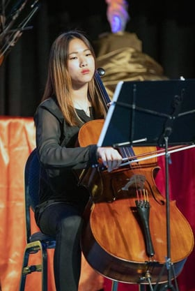 "Minju Cindy Oh has learned to play ""Amazing Grace with Bach,"" which mixes the beloved hymn with Johann Sebastian Bach's ""Cello Suite No. 1 Prelude."" Photo courtesy of Minju Cindy Oh."