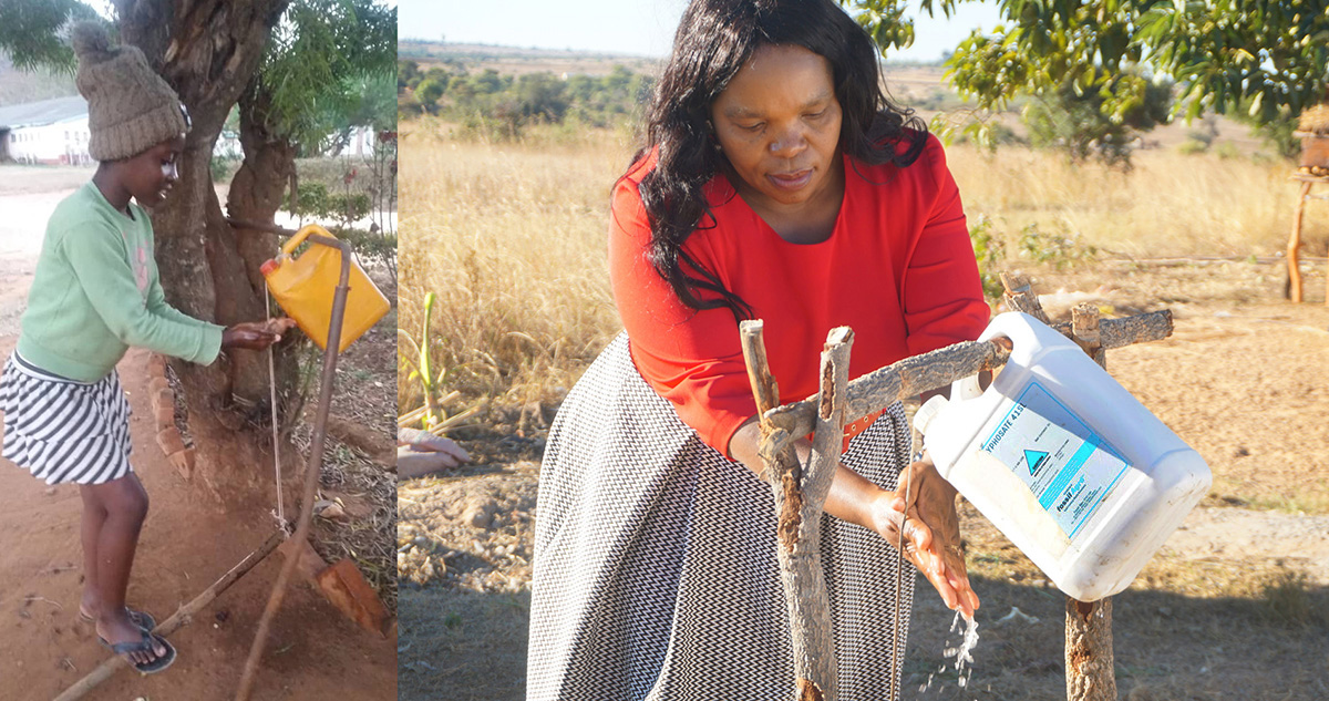 "At left, Ruvarashe Hakuna, daughter of the Rev. Sandra Hakuna, pastor-in-charge at Old Mutare Mission United Methodist Church in Mutare, Zimbabwe, washes her hands using a ""tippy-tap"" foot-pedal device. At right, Rudo Sarah Mazamani, a United Methodist farmer in Headlands, Zimbabwe, uses the hands-free device, which is more hygienic than a traditional water tap. Photos by Kudzai Chingwe, UM News."