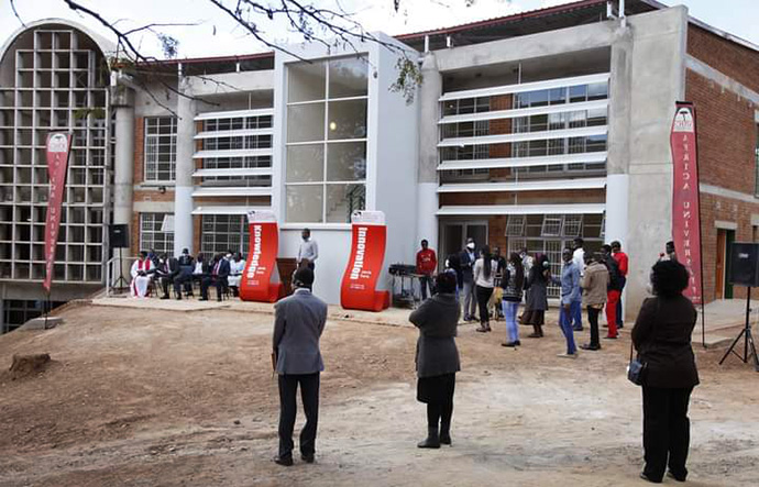 A $2 million gift from Highland Park United Methodist Church in Dallas, Texas, helped construct a new student union building at Africa University in Mutare, Zimbabwe. The building was dedicated July 20. Fall semester classes at the United Methodist university will begin online due to the COVID-19 pandemic. Photo courtesy of Africa University.