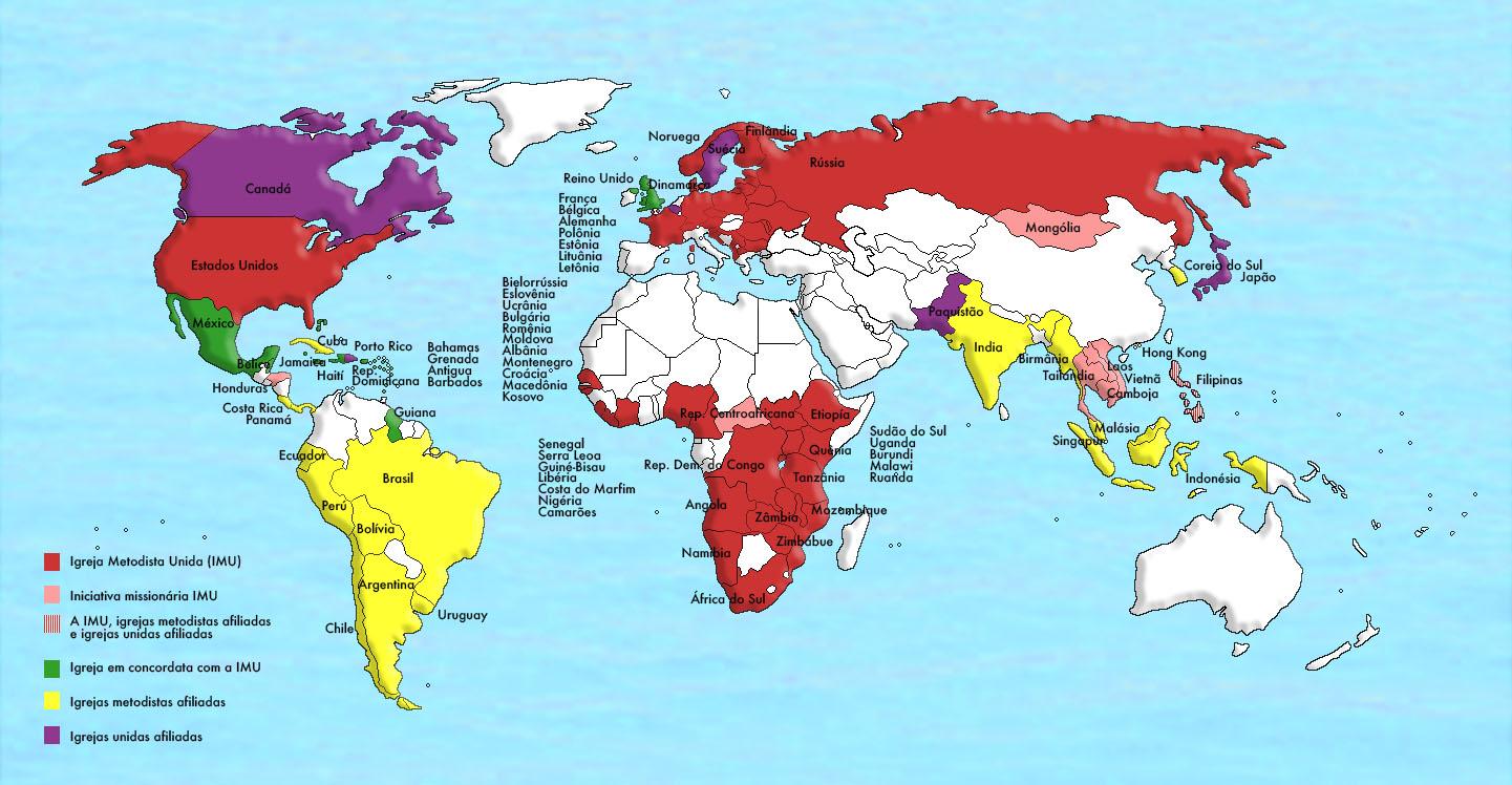 O mapa mostra a presença da Igreja Metodista Unida, juntamente com igrejas afiliadas e concordantes em todo o mundo. Versão do mapa em português pelo Rev. Gustavo Gustavo Vasquez, Notícias MU