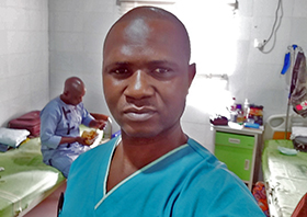 Elisha Friday Ishaya, a perioperative nurse, takes a selfie while in quarantine at the Federal Medical's Isolation Treatment Center in Keffi, Nigeria. The Africa University graduate was one of 17 on a 50-member medical team who tested positive for COVID-19. Photo courtesy of Africa University.