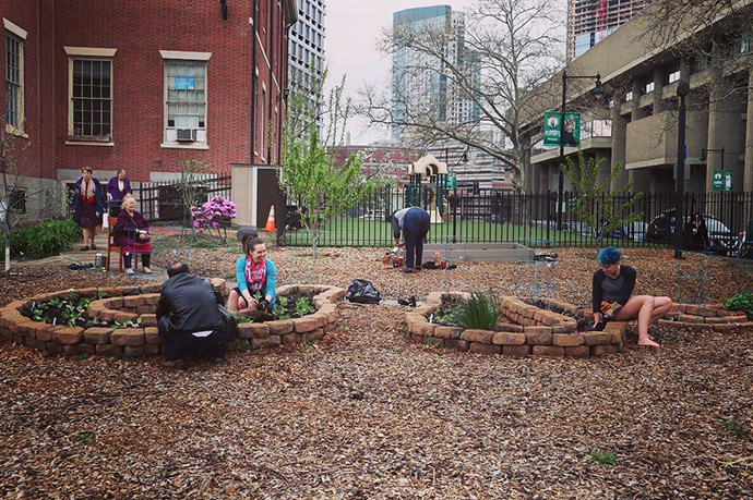 """Old West Church, a United Methodist congregation in Boston, partnered with the Boston Food Forest Coalition to create an """"edible forest garden,"""" which mimics woodland ecosystems in an urban setting. It is part of the church's vision to better demonstrate its commitment to food and social justice. Photo courtesy of the Rev. Sara Garrard."""