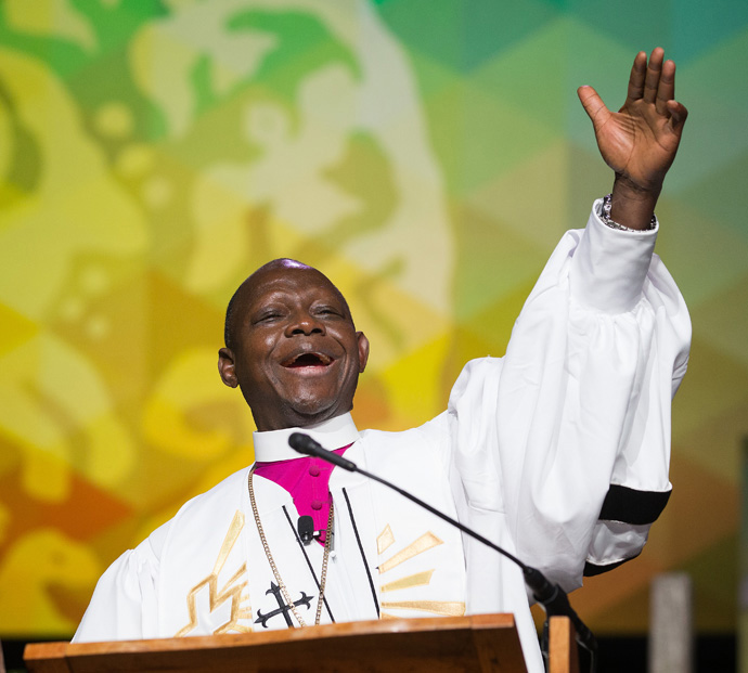 Bishop John K. Yambasu gives the sermon during morning worship May 19 at the 2016 United Methodist General Conference in Portland, Ore. Yambasu died Aug. 16 in an auto accident. File photo by Mike DuBose, UM News.