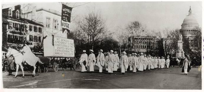 Women march in the 1913 Women Suffrage Procession in Washington organized by the National American Woman Suffrage Association. Methodist women played a significant role in the ratification of the 19th Amendment. Photo from the U.S. National Archives and Records Administration courtesy of Wikimedia Commons.