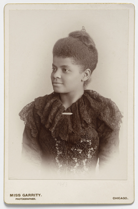 A portrait of Ida B. Wells-Barnett circa 1893, an early leader in the women's and civil rights movements. Wells was active in the women's suffrage movement but was asked not to march with white suffragists in 1913.   Albumen silver print by American female photographer, Sallie Garrity. Photo from the National Portrait Gallery, courtesy of Wikimedia Commons.