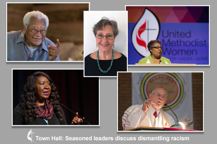 "Speakers for the Aug. 19 ""Town Hall: Seasoned leaders discuss dismantling racism"" are (clockwise, starting top left) the Rev. James Lawson, Sue Thrasher, Clara Ester, Bishop Joel Martínez; Erin Hawkins, moderator. Photos by Mike DuBose, UM News; photo of Sue Thrasher, courtesy of United Methodist Communications."
