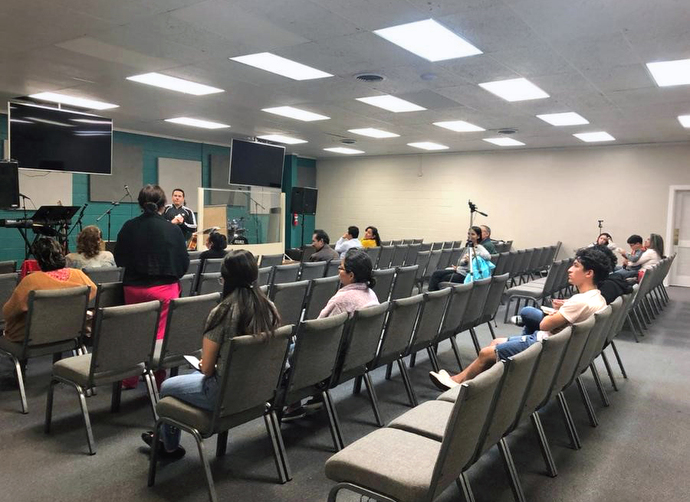 Worshippers gather at the Iglesia Vida Abundante in Tyler, Texas, for Sunday services. The church is drawing about half of the 50-60 people who attended before the coronavirus pandemic. Photo courtesy of Iglesia Vida Abundante.