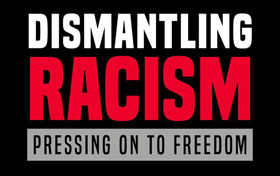 """The program, """"Dismantling Racism: Pressing on to Freedom,"""" is a multi-agency effort of The United Methodist Church to end racism and racial inequality. Logo courtesy of United Methodist Communications."""