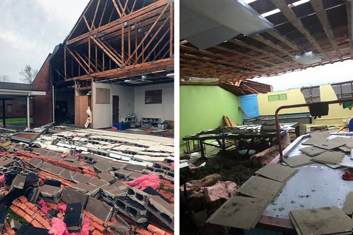 Two views show extensive damage to University United Methodist Church in Lake Charles, La. Southwestern Louisiana has widespread destruction from Hurricane Laura, which made landfall Aug. 27 with winds of up to 150 miles per hour. Photos by Jerry Jackson, courtesy of the Rev. Angela Cooley Bulhof, University United Methodist Church.