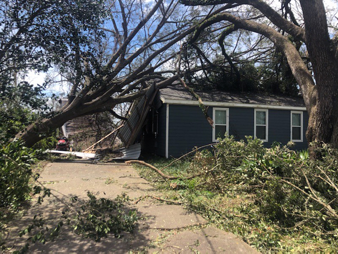 The home of James Hyatt, worship leader at University United Methodist Church in Lake Charles, La., was badly damaged by Hurricane Laura. Photo courtesy of the Rev. Angela Cooley Bulhof, University United Methodist Church.