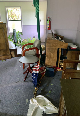 Squyres United Methodist Church, in Ragley, La., is among the United Methodist structures damaged by Hurricane Laura. Photo courtesy of the Rev. Lindsey Sirman.