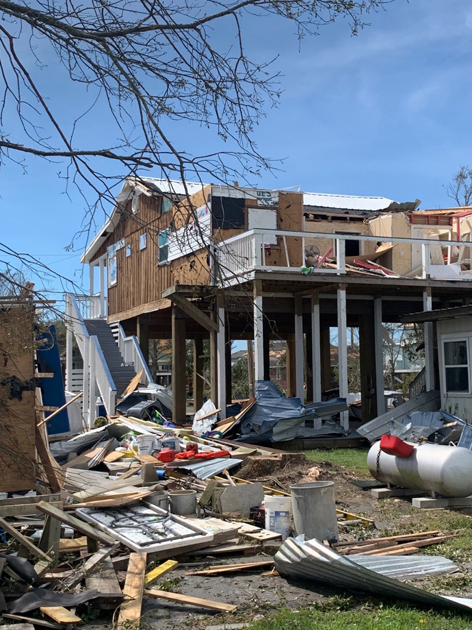 The home of Janice and Joey Redlich in Big Lake, La., was devastated when Hurricane Laura hit the Gulf Coast on Aug. 27. The Redlichs are the parents of the director of the University United Methodist Church Day School, Katie Stewart. Photo courtesy of the Rev. Angela Cooley Bulhof, University United Methodist Church.