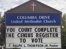 Columbia Drive United Methodist Church in Decatur, Georgia, is among the congregations across the U.S. encouraging people to turn in their census forms. Photo courtesy of Taressa Thompson.