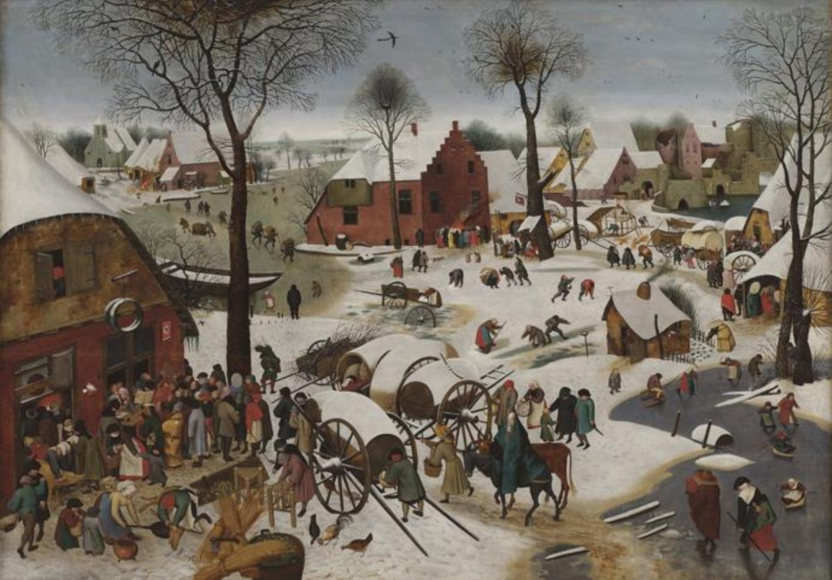 """""""The Census at Bethlehem"""" painted in 1566 by Flemish artist Pieter Bruegel the Younger from a model by the artist's father, Pieter Bruegel the Elder. The painting is in the Royal Museums of Fine Arts of Belgium in Brussels. Photo courtesy of Wikimedia Commons."""