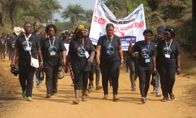 United Methodist Women parade the streets in Marshall City, Liberia, to protest sexual violence against women and girls during the group's 72nd annual session held Jan. 21-27, 2020. File photo by E Julu Swen, UM News.