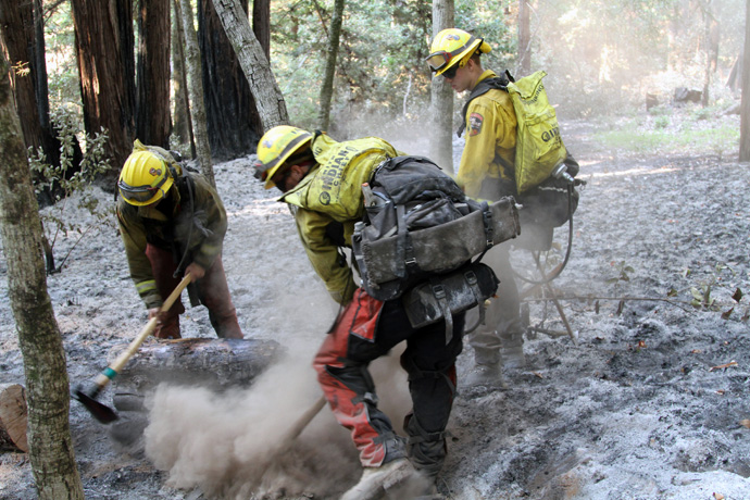 U.S. Army soldiers from the California Army National Guard's Task Force Rattlesnake out of Redding, Calif., put out a fire Sept. 1, near Scott's Valley during the CZU (Cal Fire designation for its San Mateo–Santa Cruz Unit) Lightning Complex Fire in Santa Cruz and San Mateo counties. Photo by Staff Sgt. Eddie Siguenza, U.S. Army National Guard.
