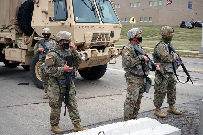 National Guard troops protect 39th Avenue entrance to Bradford High School at Washington Road in Kenosha, Wis., on Sept. 1. Photo courtesy of Wikimedia Commons.