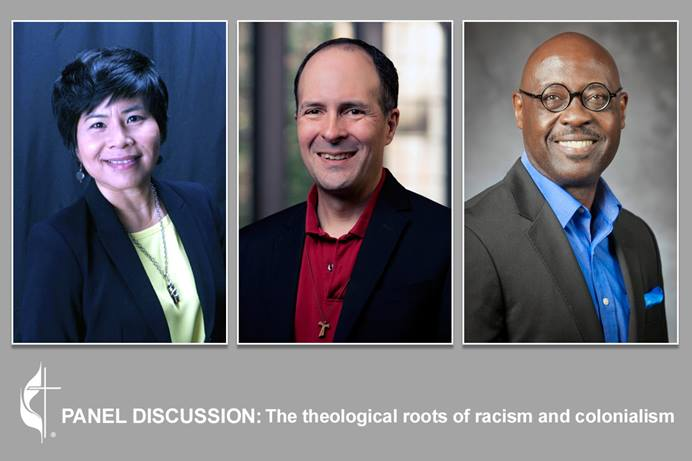 Speakers for the Sept. 16 panel discussion on the theological roots of racism and colonialism are (left to right) the Revs. Mai-Anh Le Tran, Edgardo Colón-Emeric and Willie James Jennings. The United Methodist Church held the livestreamed discussion as part of its Dismantling Racism series. Photos courtesy of Tran, Jennings, and photo of Colón-Emeric by Les Todd; graphic by Laurens Glass, UM News.