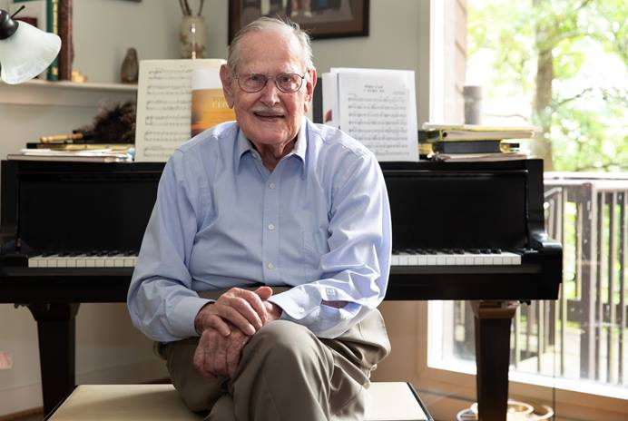 "The Rev. Carlton R. ""Sam"" Young is, at 94, still composing and arranging music. Editor of The Methodist Hymnal (1966) and The United Methodist Hymnal (1989), he's out with a new collection of sheet music called ""Today I Live: Hymns and Songs of Remembrance and Hope."" Photo by Mike DuBose, UM News."