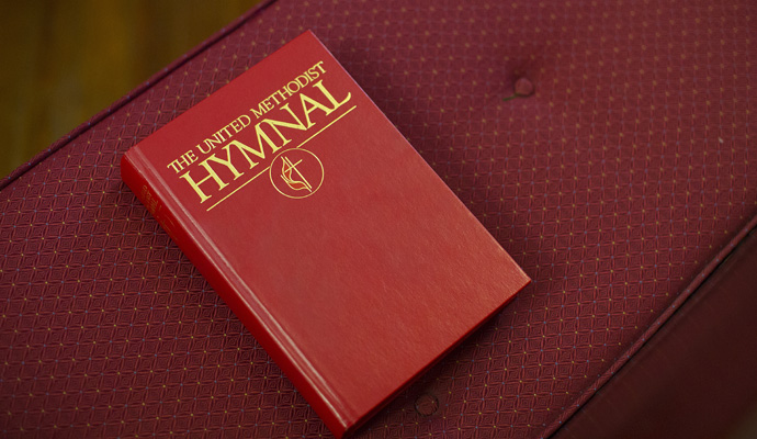"The United Methodist Hymnal, edited by the Rev. Carlton R. ""Sam"" Young, came out in 1989 and remains in print and in use. It has sold nearly 4.8 million copies. Photo by Kathleen Barry, United Methodist Communications."