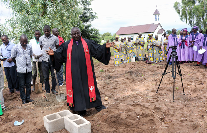 Bishop John Wesley Yohanna speaks after ceremoniously laying two foundation blocks for Grace Radio in Jalingo, the capital city of Taraba State in northeastern Nigeria. The project is an initiative of The United Methodist Church in Nigeria in partnership with United Methodist Communications and the United Methodist Radio Network. Photo by the Rev. Ande I. Emmanuel, UM News.