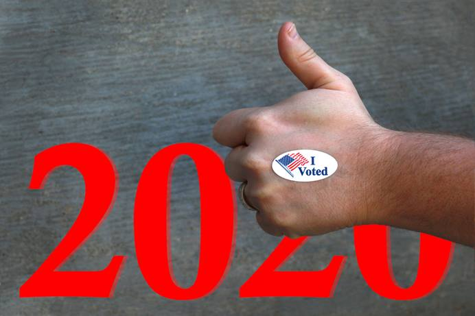 With the deadline for voter registration rapidly approaching in many states, United Methodists are helping register voters for Election Day on Nov. 3 in the U.S. Photo by Kathleen Barry; graphic by Laurens Glass, UM News.