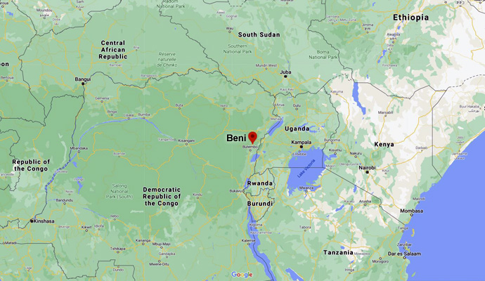 A Google map of Africa shows Beni located to the north of Rwanda and to the west of Lake Victoria in the Democratic Republic of the Congo. The name Beni has been added by its red locator. Image courtesy of Google Maps.