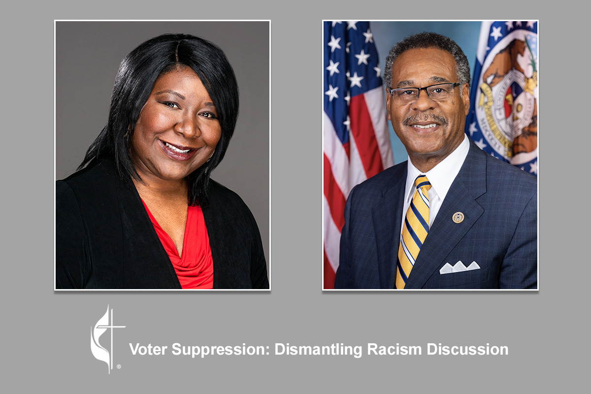 Rep. Emmanuel Cleaver II (right) spoke with Erin Hawkins during The United Methodist Church's fifth online discussion about eradicating racial injustice. Cleaver, a United Methodist pastor who represents Missouri's 5th Congressional District, said he is heartened by diverse crowds of young people coming together to march against racism. UM News graphic.