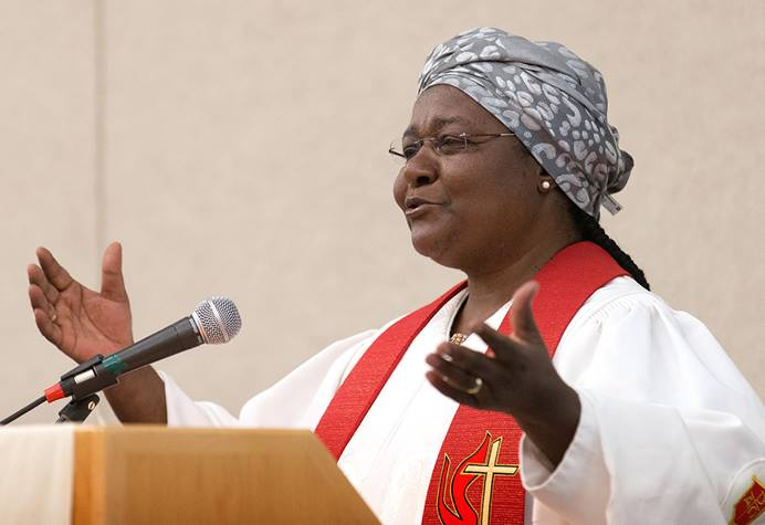 Bishop Joaquina Filipe Nhanala helps lead a worship service sponsored by the United Methodist Commission on the Status and Role of Women during the 2016 United Methodist General Conference in Portland, Ore. Nhanala spoke about having to deal with sexism in the church during the commission's virtual women's leadership summit Oct. 8-10, 2020. File photo by Mike DuBose, UM News.