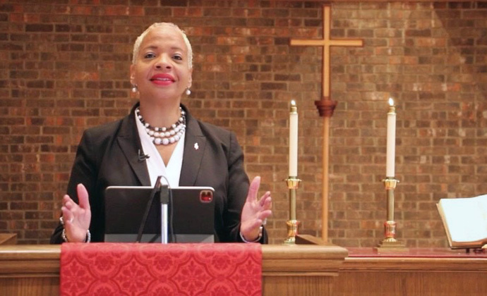 East Ohio Bishop Tracy Smith Malone, president of the Commission on the Status and Role of Women, preached during opening worship for the I AM Her Women's Leadership Summit. Screenshot courtesy of GNTV Media Ministry.
