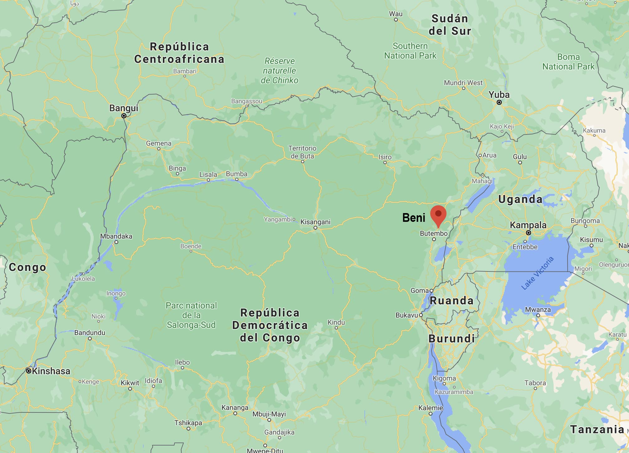 Un mapa de África en Google muestra a Beni ubicado al norte de Ruanda y al oeste del lago Victoria en la República Democrática del Congo. El nombre Beni ha sido agregado por su localizador rojo. Imagen cortesía de Google Maps.
