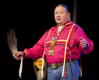 "Tink Tinker (wazhazhe, Osage Nation) helps lead an ""Act of Repentance toward Healing Relationships with Indigenous Peoples"" at the 2012 United Methodist General Conference in Tampa, Fla. Tinker is professor emeritus at The Iliff School of Theology. File photo by Mike DuBose, UM News."